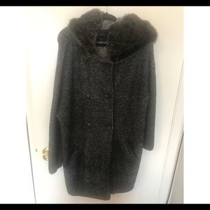 Zara grey wool fur hooded coat US Size: M